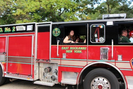 Children and their families were able to take a ride around town in a real fire truck.
