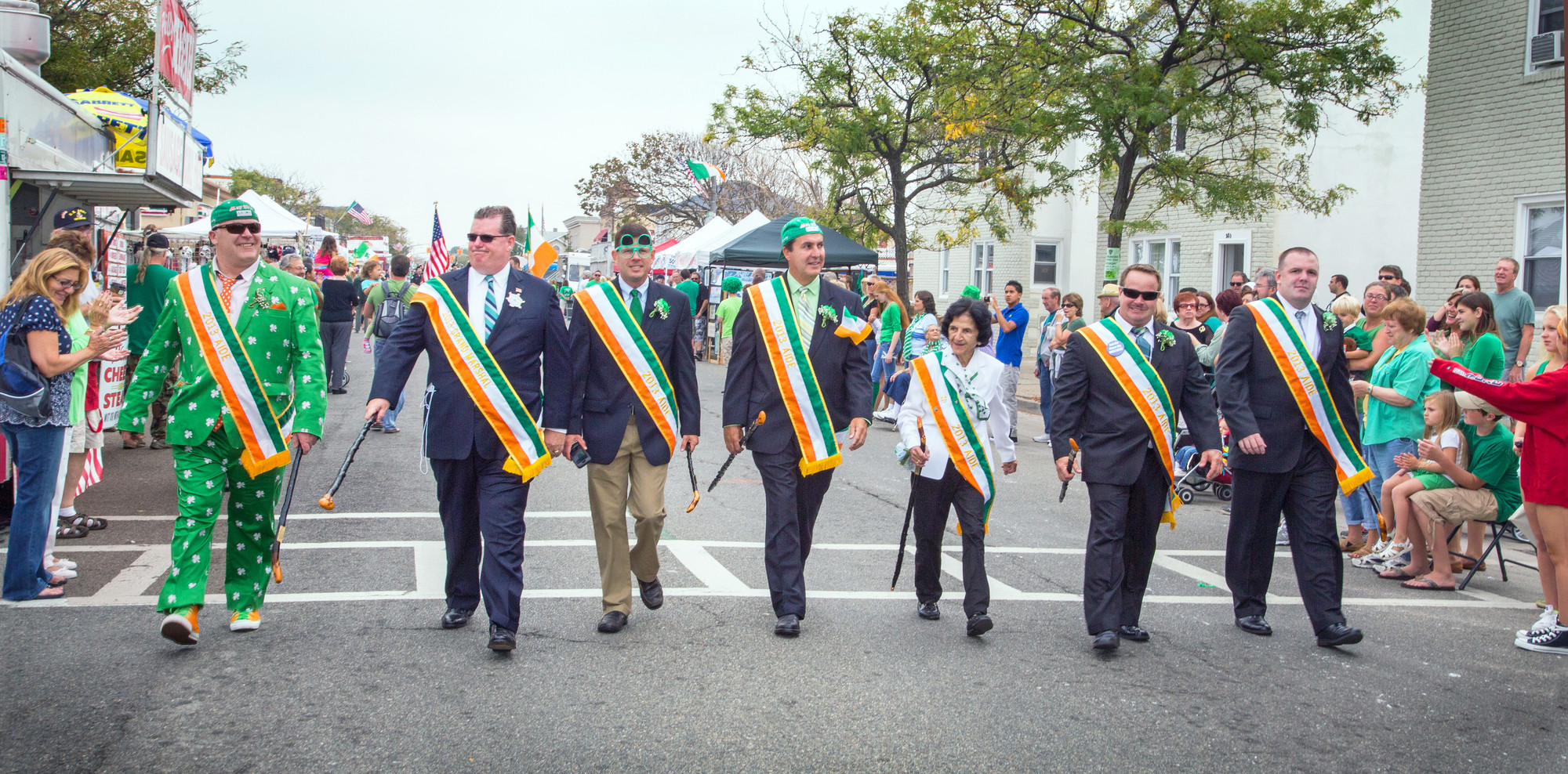 The honorees of the 24th annual St. Brendan's Day Parade and Festival, from left: 2013 Ancient Order of Hibernians Division 17 Man of the Year Sean Sullivan, Grand Marshal Brian Sharkey, Bryan Murphy, Man of the Year Michael Carroll, Rita Kelly, Doug O'Grady and New York AOH Board Vice President Timothy McSweeney.