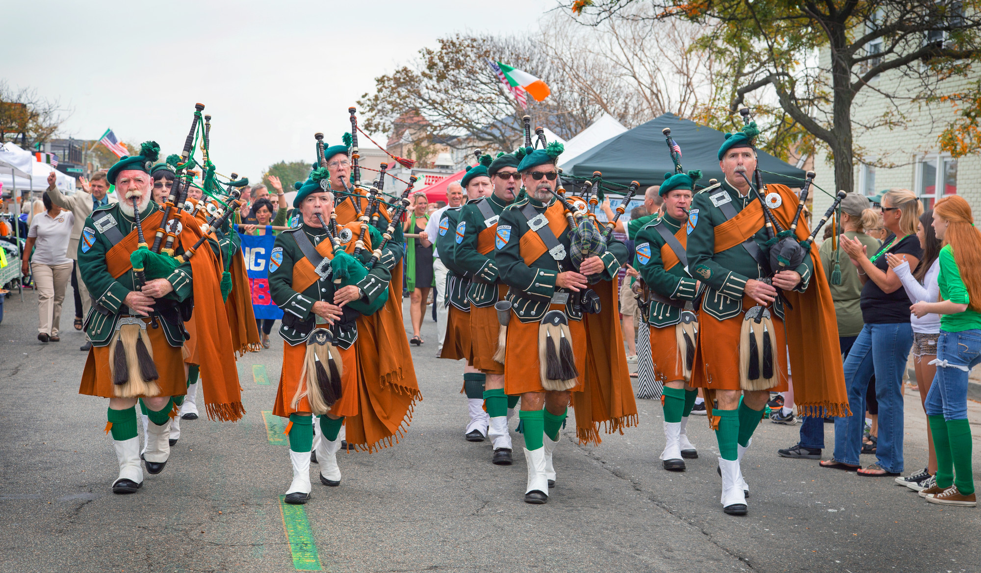 Bagpipes and drums filled the air as the parade marched down West Beech Street.