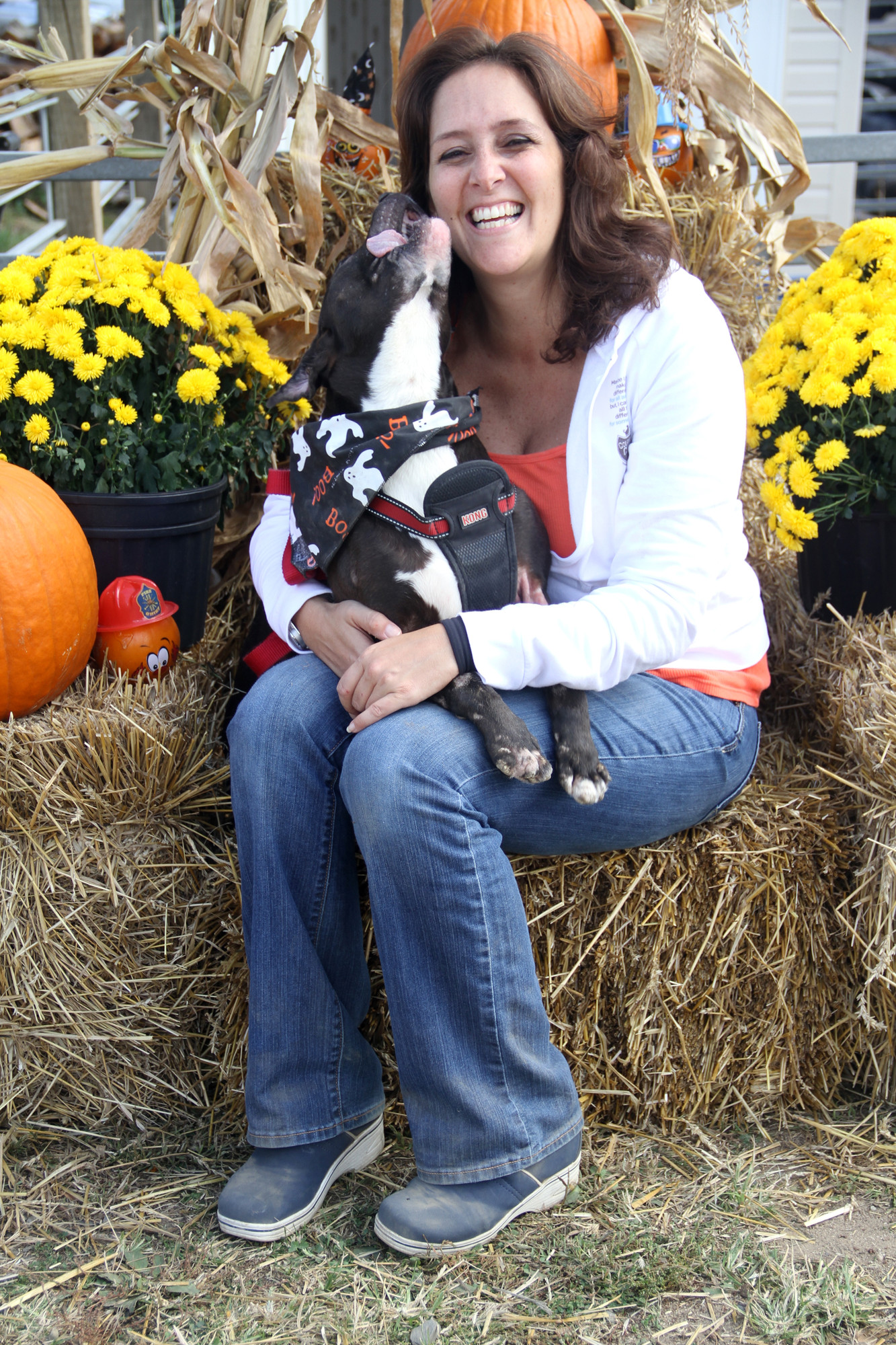 Maria Gross and Bella at Courageous Cats' fall adoption fair at Crossroads Farm at Grossman's last Sunday.