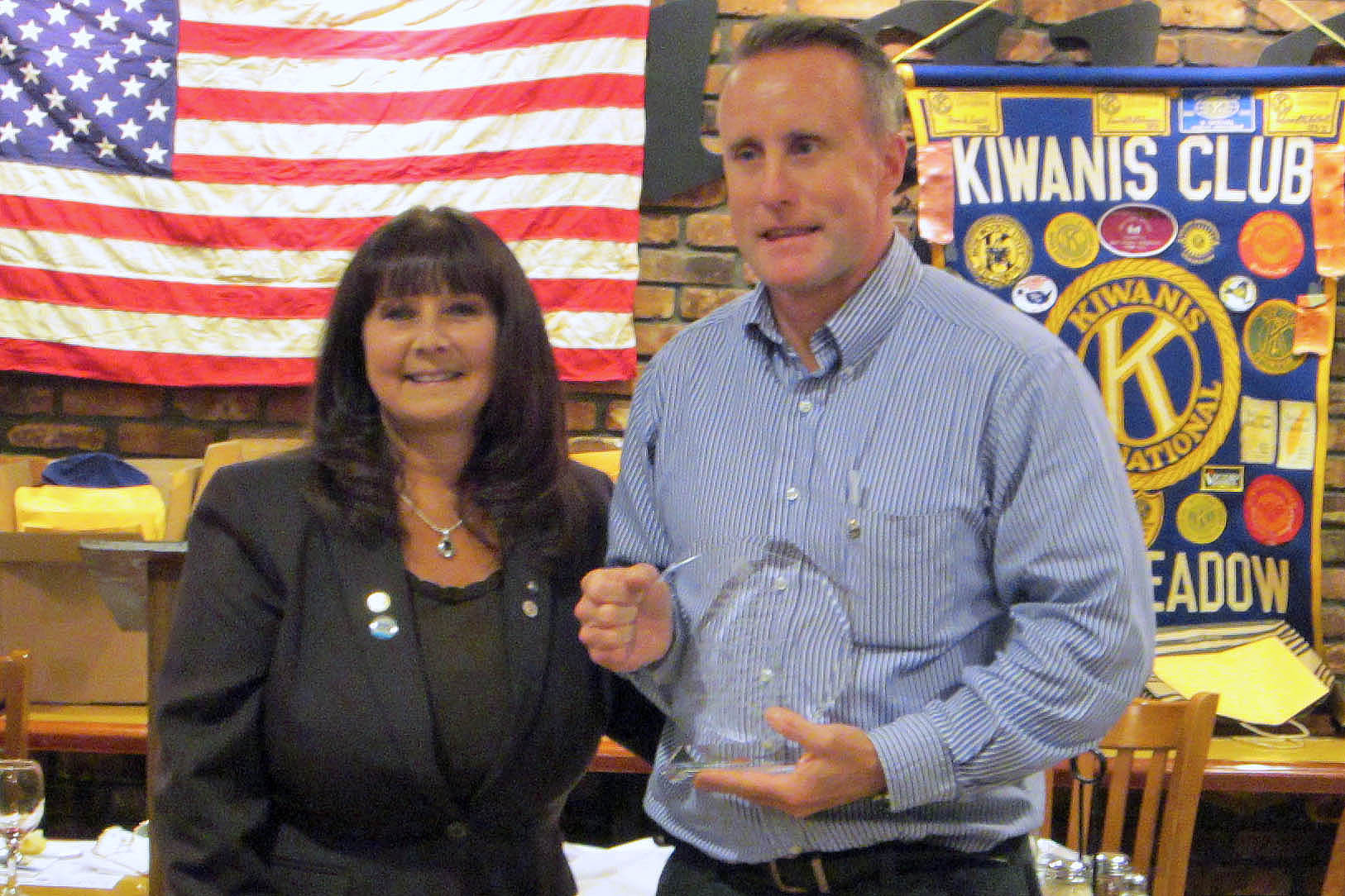 Brian O'Flaherty was recently honored by Kiwanis past president Debbie Kirsh as Kiwanian of the Year.