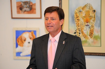 Nassau County Legislator Dave Denenberg, of Merrick, spoke at a candidates