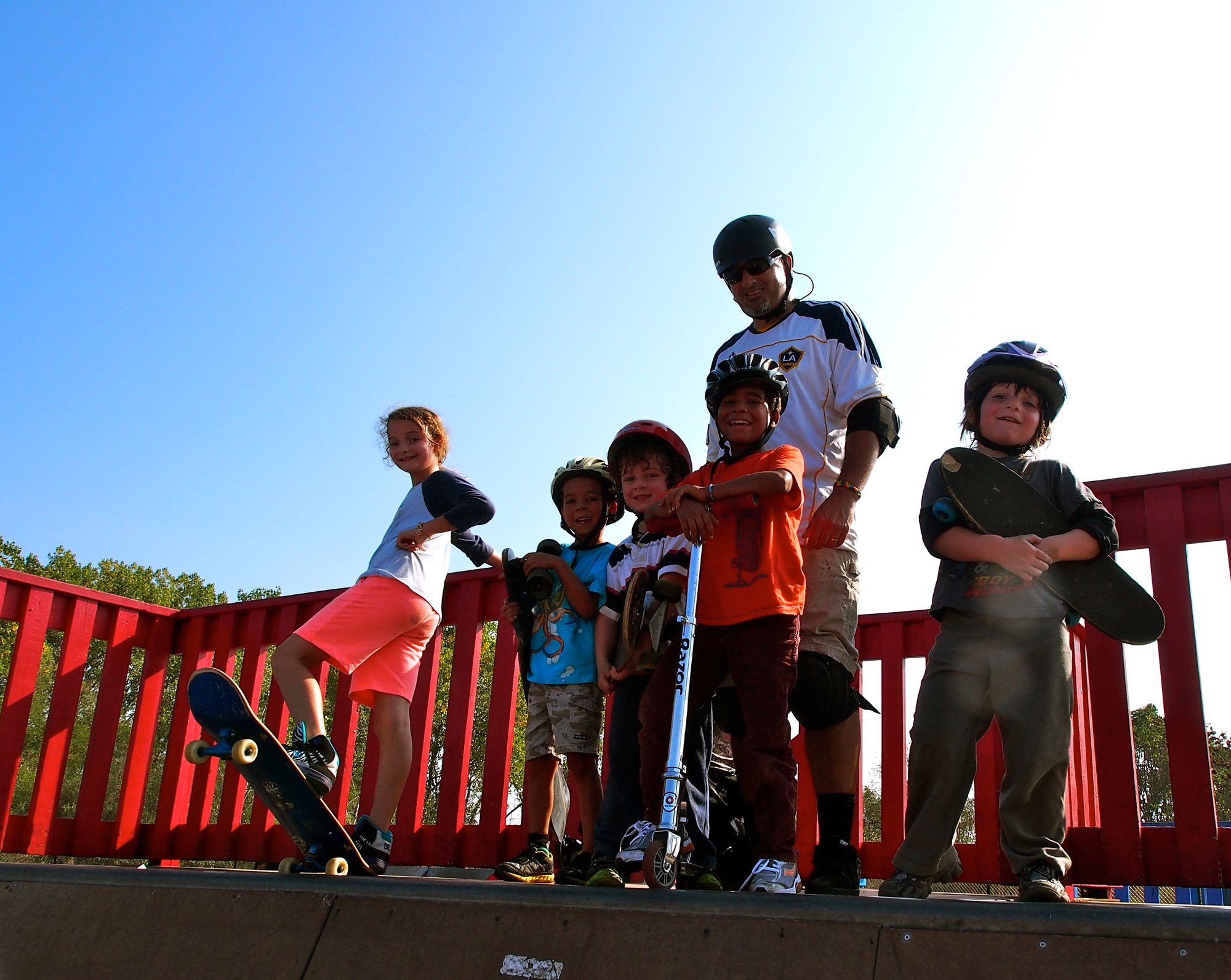 Loeb, 42, a father of three who has rediscovered the joys of skateboarding, brought his kids to the Baldwin skate park recently. From left were Jessica Loeb, Max Connolly, Zachary Loeb, Oliver Connolly and Jacob Loeb.