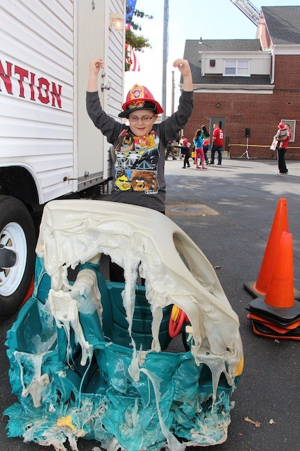 7-year-old Jack Diesco stood in front of what used to be a toy car.