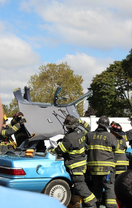 Vehicle extrication was among the many demonstrations East Meadow Fire Department volunteers conducted for the public last Sunday.