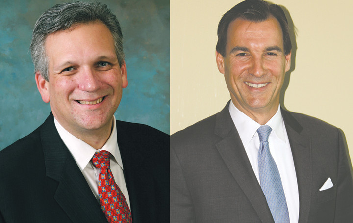 Ed Mangano, left, and Tom Suozzi are facing off for the second time in four years.