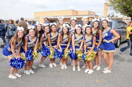 The East Meadow cheerleaders livened up the crowd