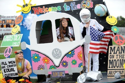 The junior class turned back the clock with a creative and 1960s themed float during the Homecoming Parade.
