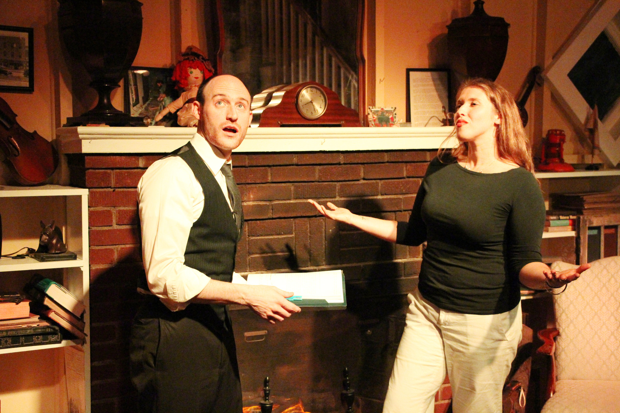 Malverne Community Theatre President David Coonan and Stephanie Ciantro performed stories of the Grimm Brothers.