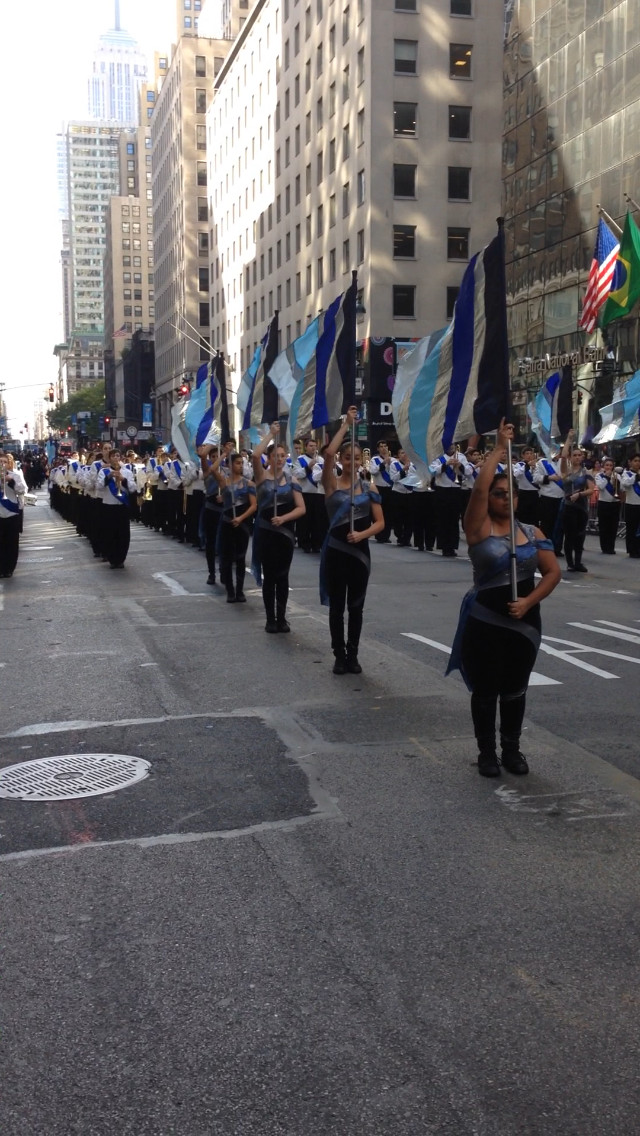The East Meadows color guard stood before the marching band on Fifth Avenue in Manhattan.