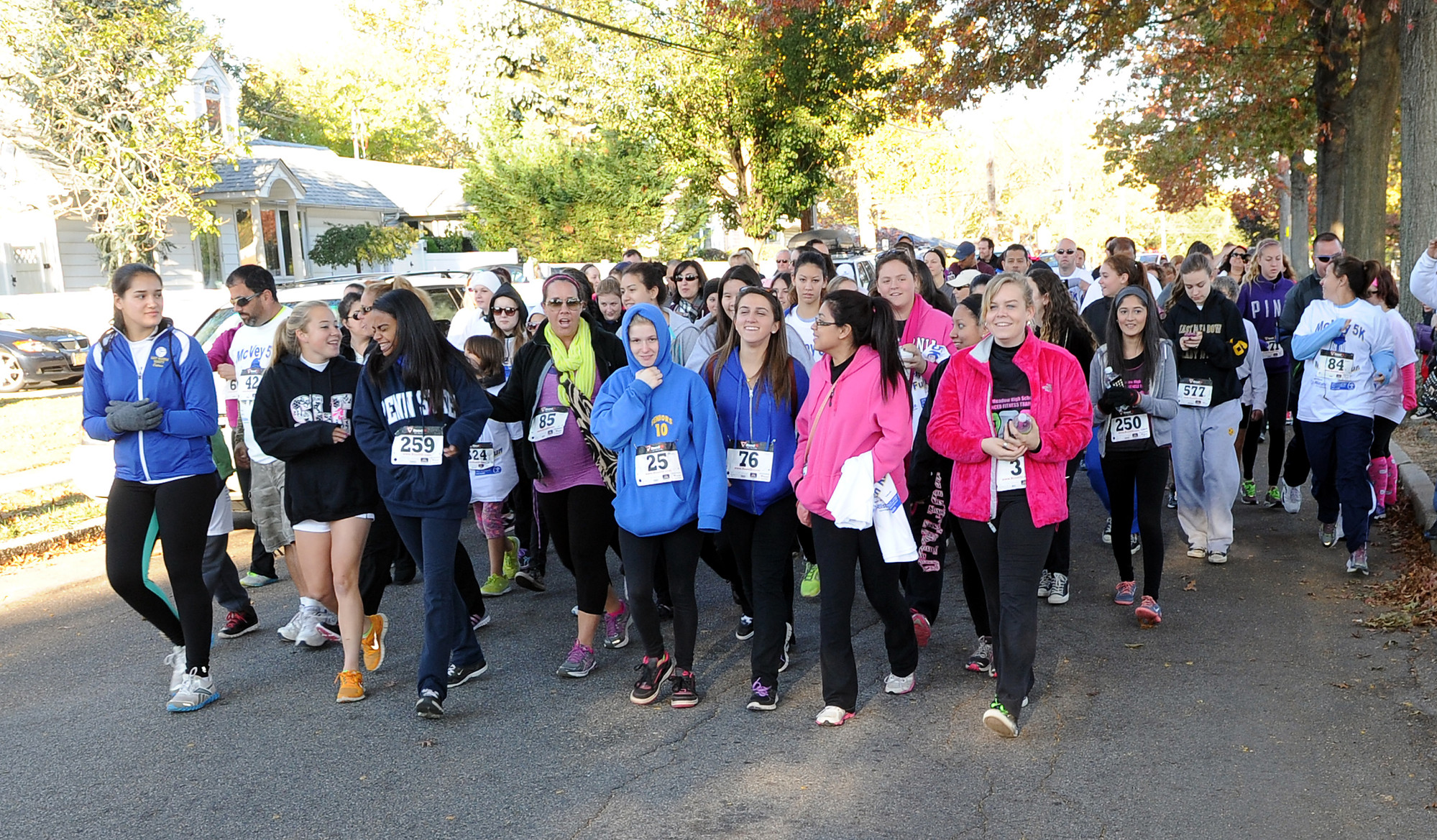 Many of the race participants preferred to enjoy the brisk, autumn scenery along the 5K path on Sunday.