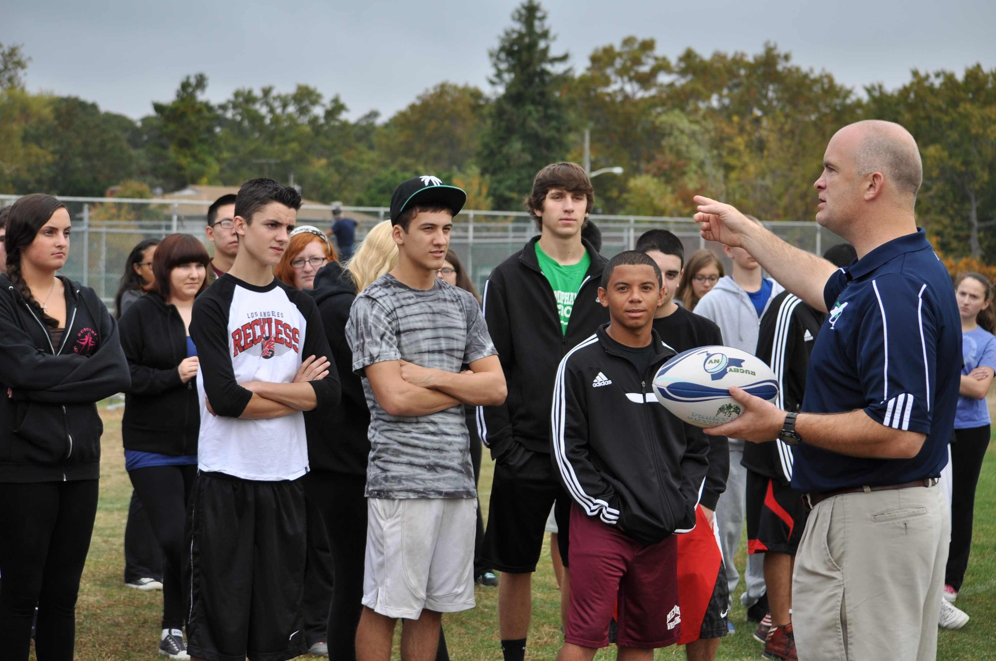 Rugby clinics were held in phys. ed. classes throughout the district.