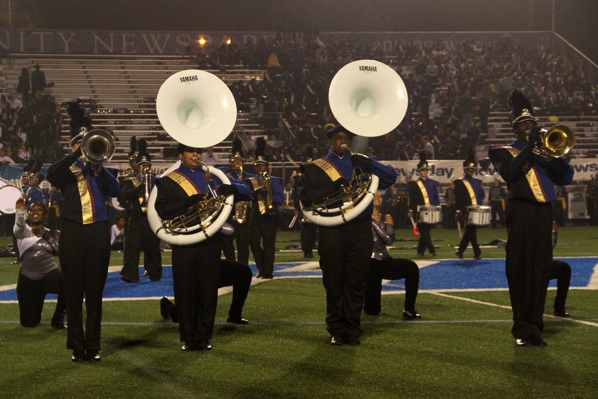 The Malverne High School Marching Band brought down the house at the Newsday Marching Band Festival at Hofstra University on Oct. 16.