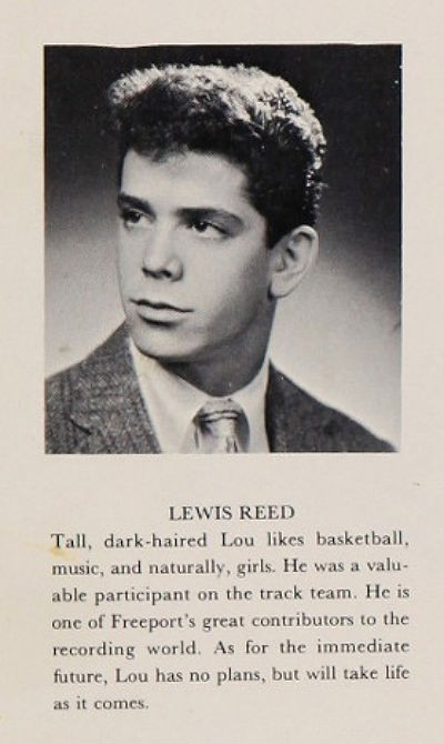 "Reed's 1959 high school yearbook photo, which listed his interests in ""basketball, music, and naturally, girls,"" and stated that ""Lou has no plans, but will take life as it comes."""
