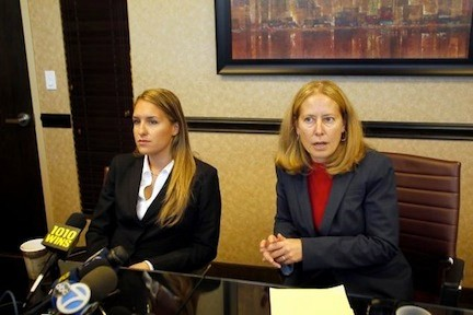 Jenny Hannigan, left, and attorney Amy B. Marion held a press conference a week ago, after Hannigan filed a federal lawsuit accusing a Nassau County police officer of sexual abuse.