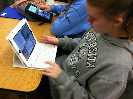 Oceanside eighth-graders used the new technology during a classroom session.