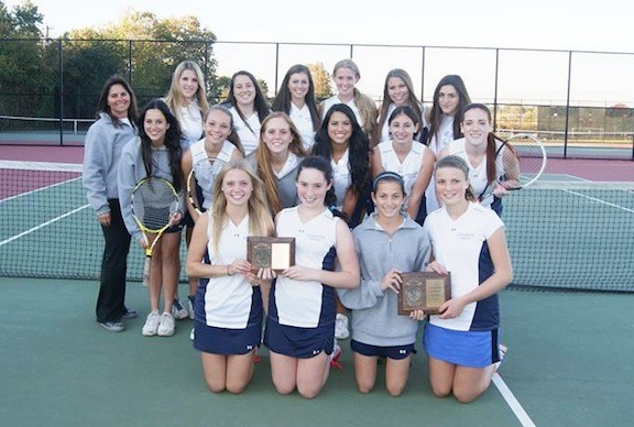 Oceanside 's girls' tennis team outlasted playoff opponents North Shore and Locust Valley by identical 4-3 margins to win the Conference II title.