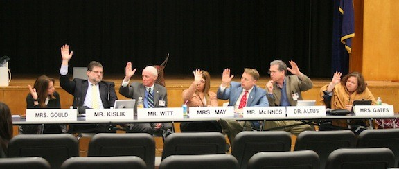 Trustee attendance at Lawrence Board of Education meetings has been lacking, while the presence of Hewlett-Woodmere board members, above, is much more consistent.