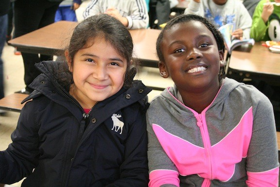 Kairy Bonilla and Bryssie White, both third graders, at the Number Five School