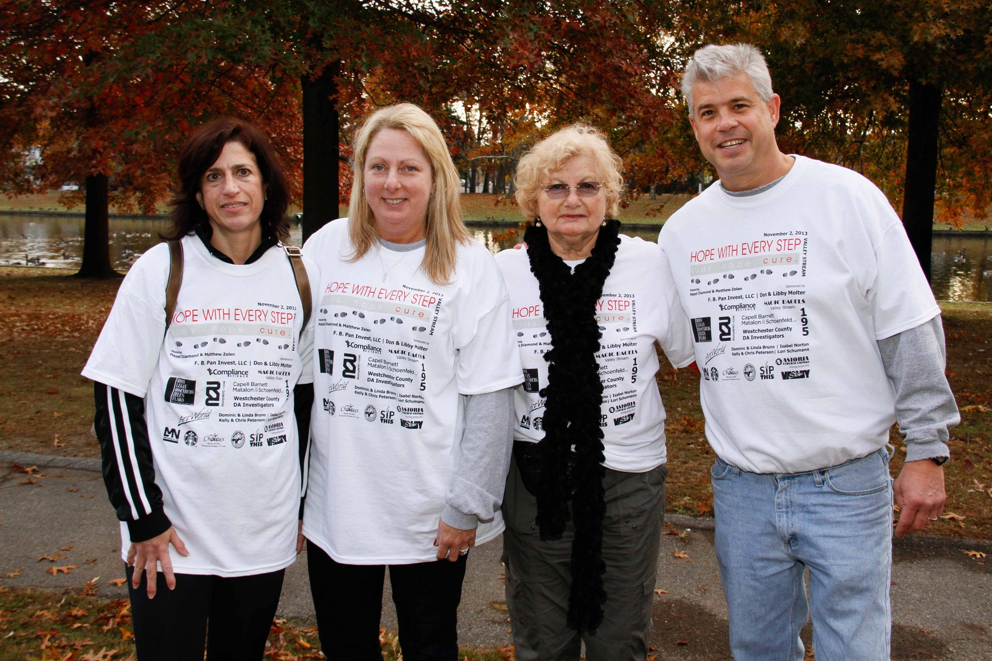 Hosts of the Walk, from left, Debbie Zelen, Claudia Rohlinger, Brigitte Diamond and Michael Rohlinger, are working to help children with ataxia telangiectasia, a rare disease that affects children.