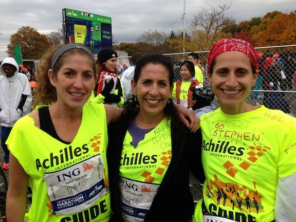 Five Towns residents from left, Yael Mandel, Elyse Goldstein and Leigh Waxman took part in the NYC Marathon on Nov. 3 as part of Achilles International and helped disabled participants complete the race.
