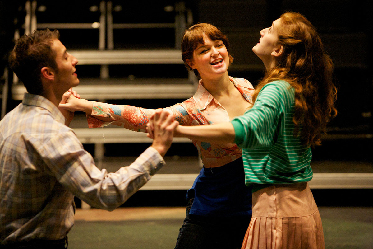"Hofstra University students Sophie Gagnon, Cassie DeMarco and Jesse Eberl star in ""Cloud 9"" at Hofstra's Black Box Theater."
