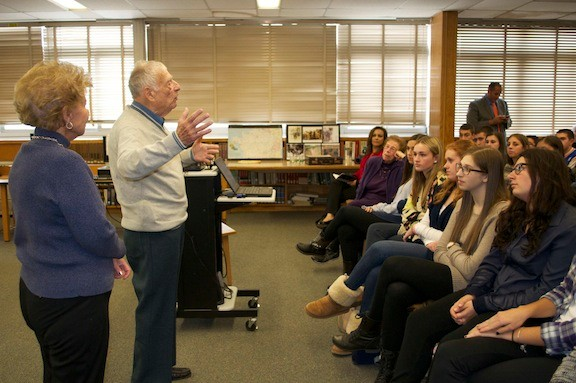 World War II veteran and POW Bernie Rader, and his wife, June, spoke with students in the Advanced Placement American history and Gilder Lehrman Foreign Policy classes at John F. Kennedy High School on Oct. 30 about his experiences during the war.
