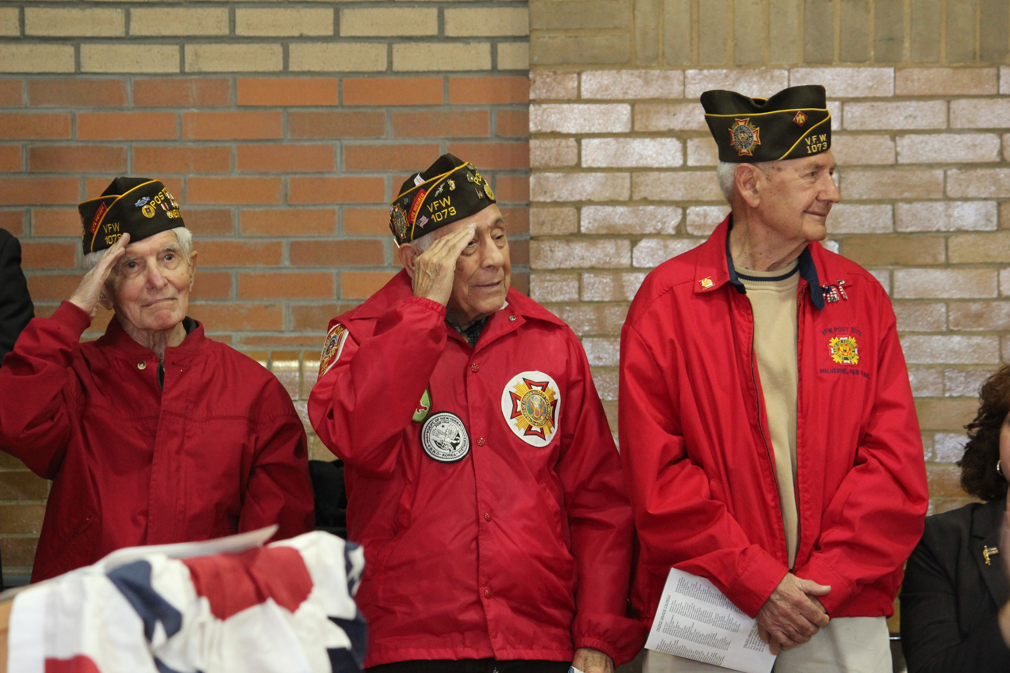 Proud members of the VFW Post 1073, left to right, Louis Jaccino, Vito Ilardi, and Steve Kirtyan saluted their brethren.
