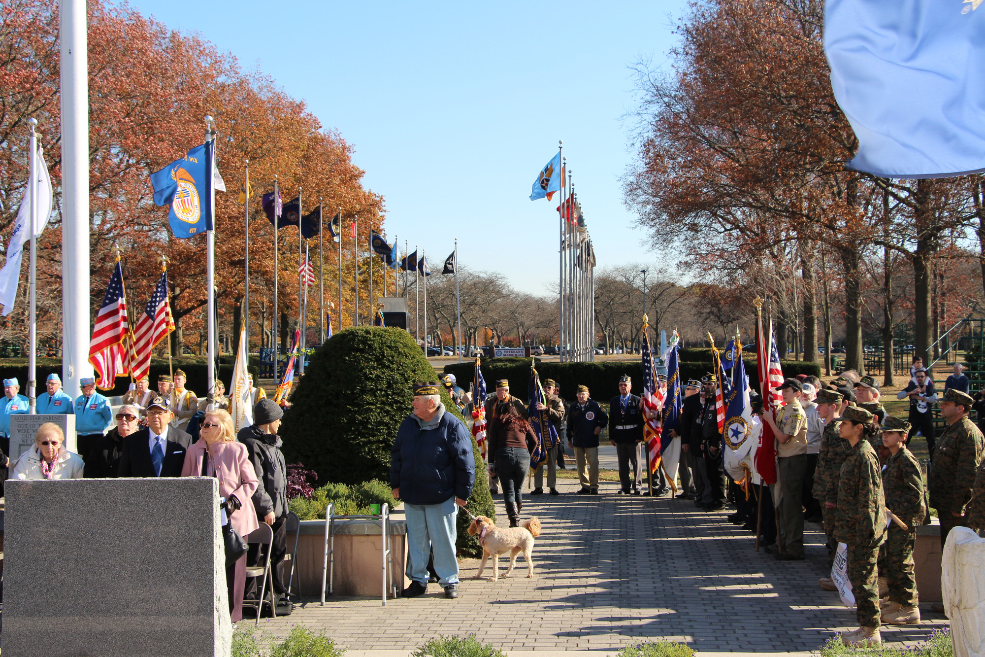 The Veterans Day Ceremony began with strong winds, strong spirits and strong-willed American Veterans.