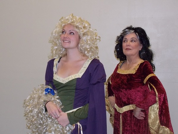 Rapunzel lets down her hair, performed by Plaza Theatrical Productions in Bellmore on Saturday.
