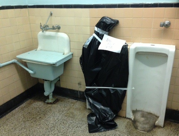 The bathroom in the Mepham High School football locker room.