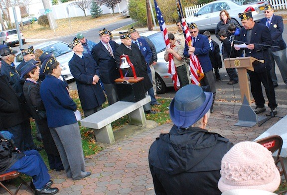 Roughly 50 people turned out for the Merricks' Veterans Day ceremony at Veterans Memorial Park in North Merrick on Monday, Nov. 11.