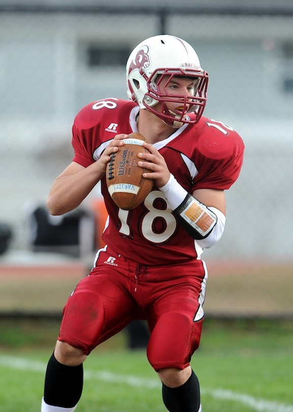 Quarterback Peter Falgiano helped Clarke to four victories this fall and a return to the Conference IV playoffs.