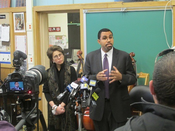State Education Commissioner Dr. John King and Chancellor Meryl Tisch at a press conference prior to the public forum.