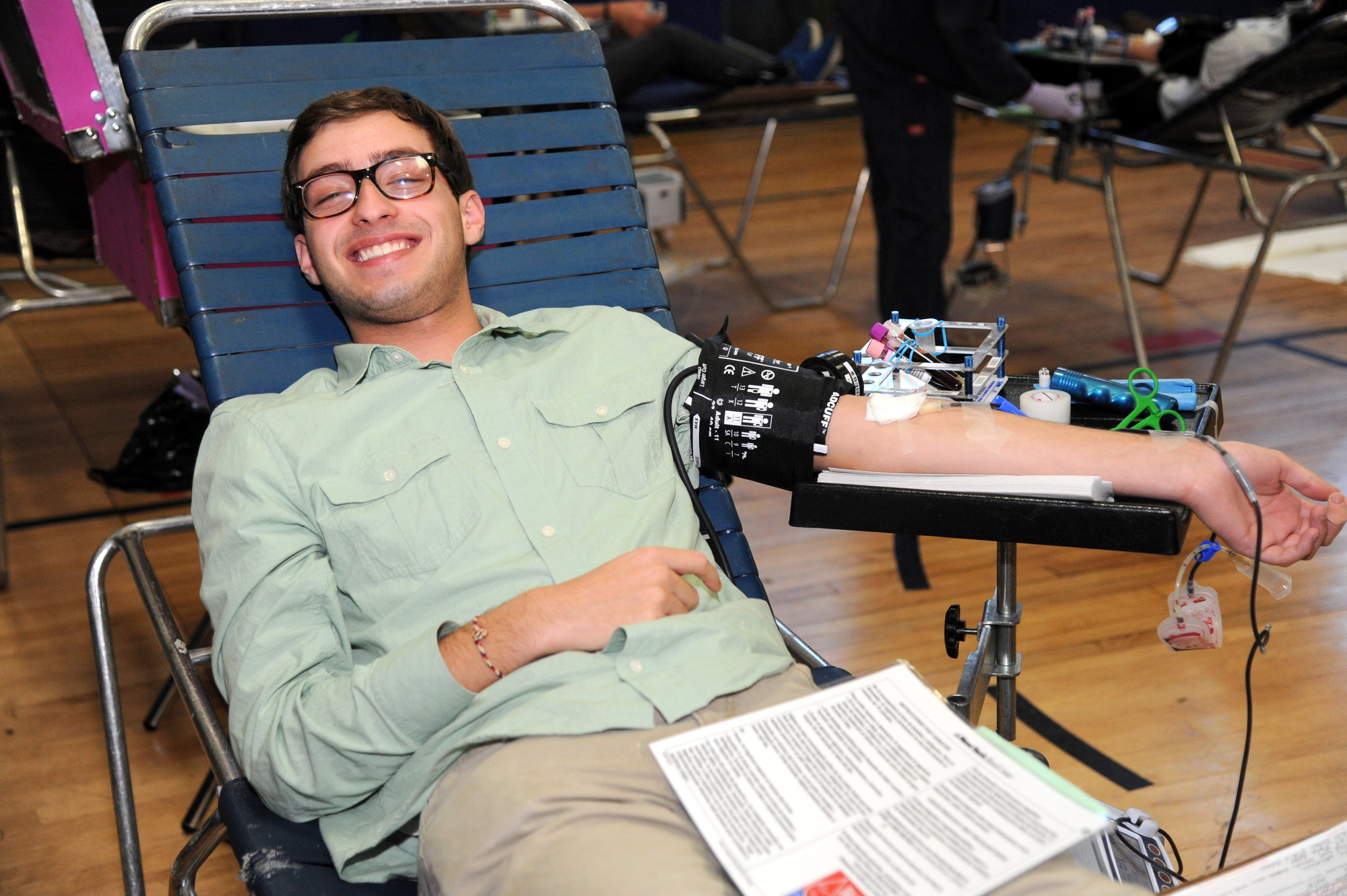 In conjunction with the New York Blood Center, HAFTR High School held a blood drive on Nov. 18, and student Matthew Sulzheiger, 17, donated a pint.