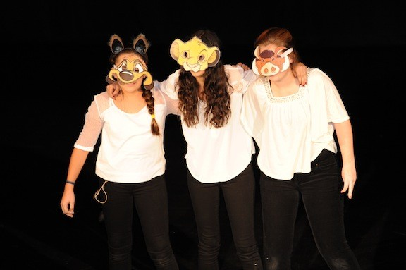 Victoria Devine, left, Julia Pandolfo and Julia Baxley  were best buddies while they sang Hakuna Matata, from The Lion King.