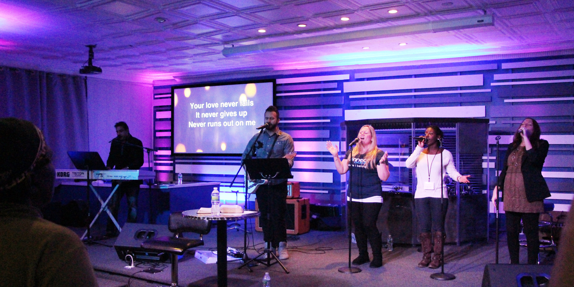 Before the food was distributed, Connect Church held a service at which members sang songs of thankfulness.