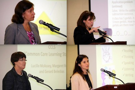 Superintendent of schools Dr. Melissa Burak, top left, welcomed guests at the Lynbrook PTA Joint Council presentation. Waverly Park Principal Lucille McAssey, top right, gave examples of Common Core in the elementary math classroom. Lynbrook South Middle School Principal Margaret Ronai, bottom left, explained the Common Core Learning Standards, and middle school English Department Chairperson Roxanne Migliacci, bottom right, outlined how literacy is helping students make meaning of the world. Assistant Superintendent for Curriculum and Instruction Gerard Beleckas, not pictured, explained the components of the district's teacher evaluation system.