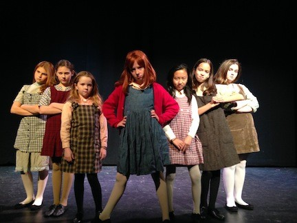 "Annie arrives on stage in Elmont, in ""Annie, Jr.,"" BroadHollow Theatre's shortened version of the beloved musical."