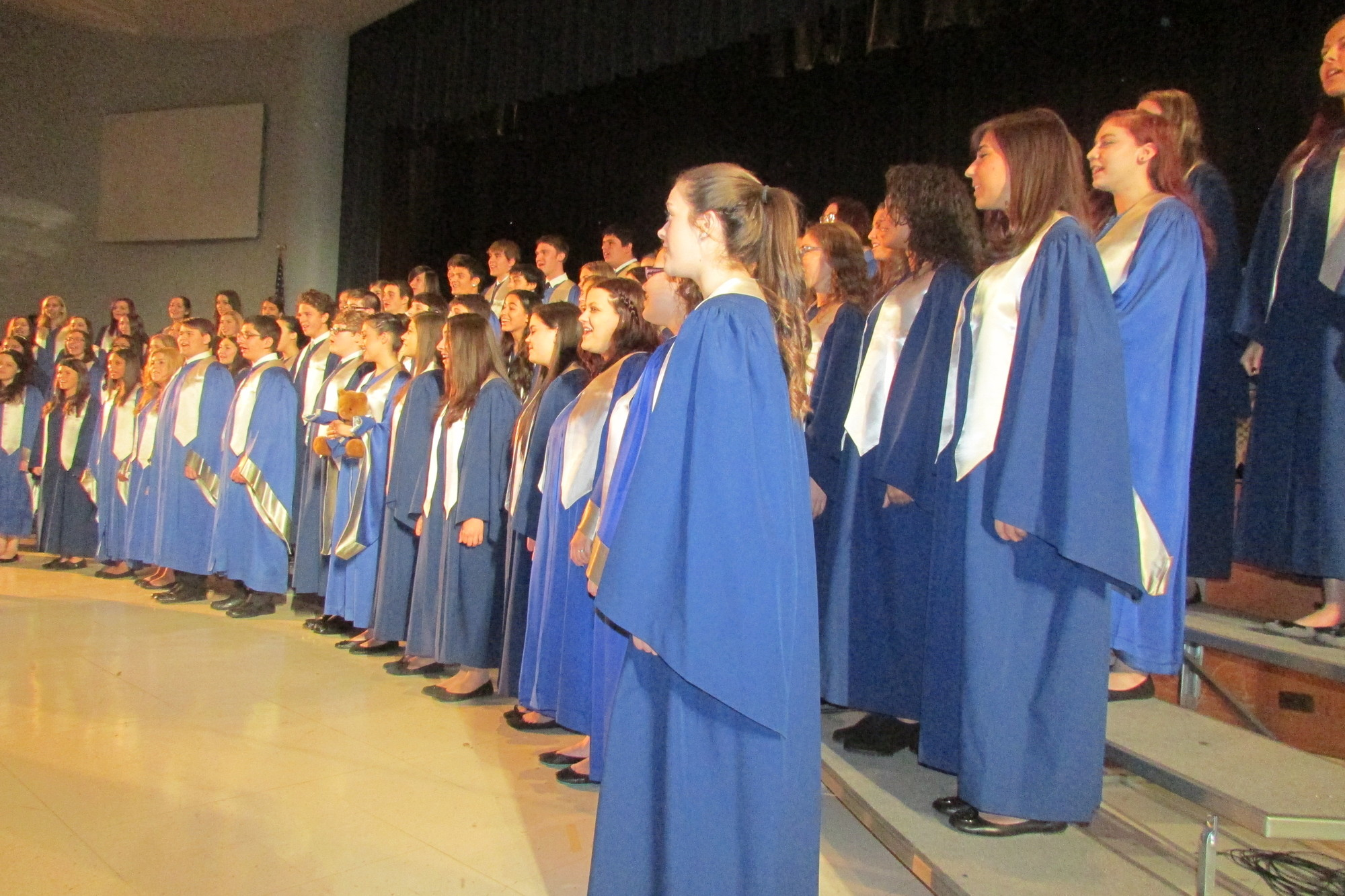 "The Calhoun High School Concert Choir, under the direction of Sanford Sardo, belted out ""Some Nights,"" ""Elijah Rock"" and ""Man in the Mirror."""
