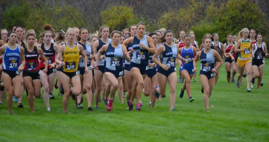 Rosenzweig (202), at right, running in the SUNYAC Cross-Country Championship in Oneonta on Nov. 2, in which she placed ninth among 124 runners and was the first freshman to cross the finish line.