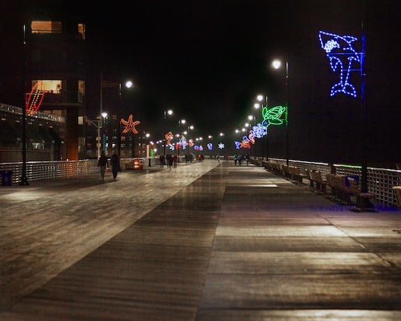 The city has placed nautical-themed holiday lights along the boardwalk, one of many efforts to attract visitors to Long Beach during the holidays.