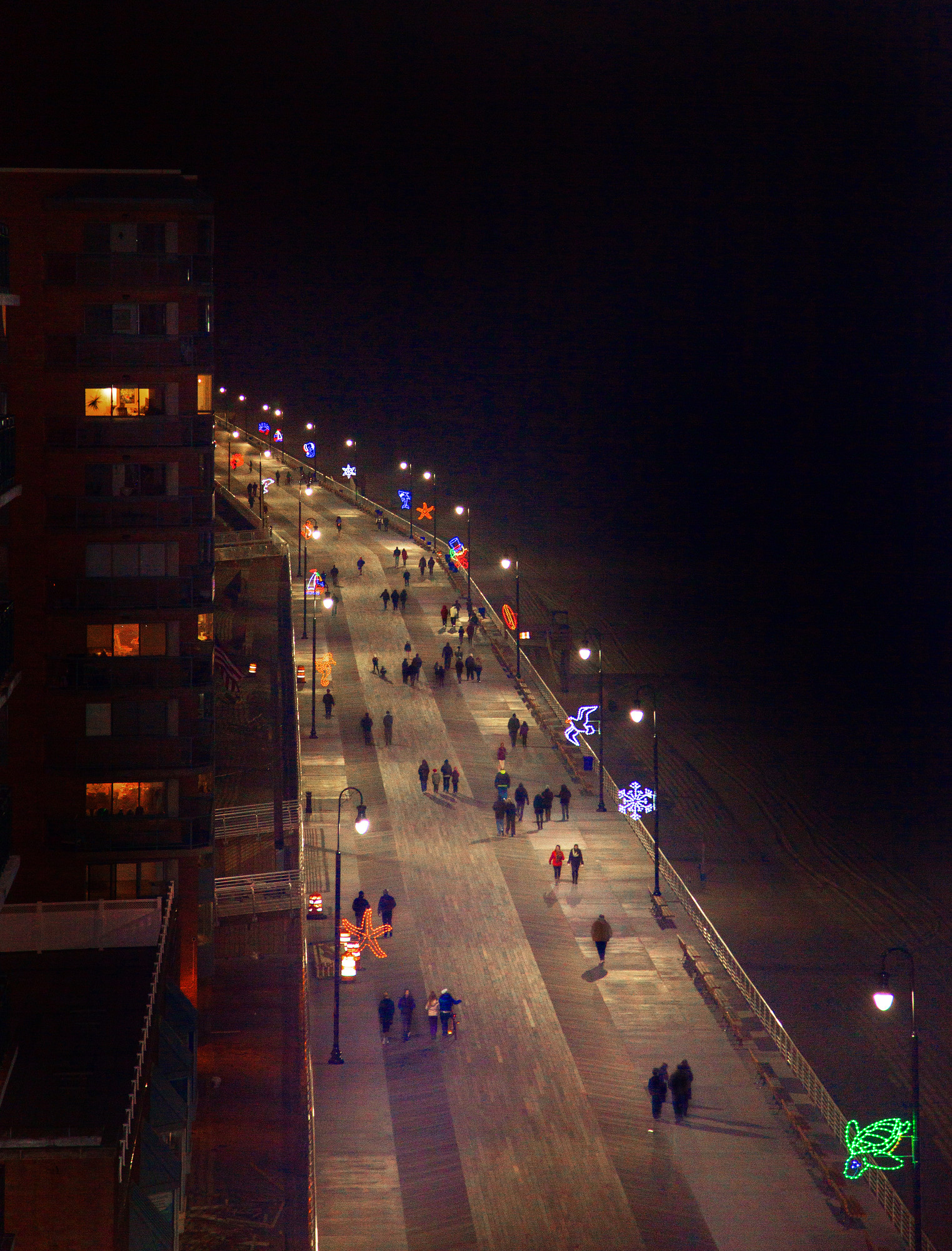 A view of the boardwalk from the top of the Allegria Hotel.