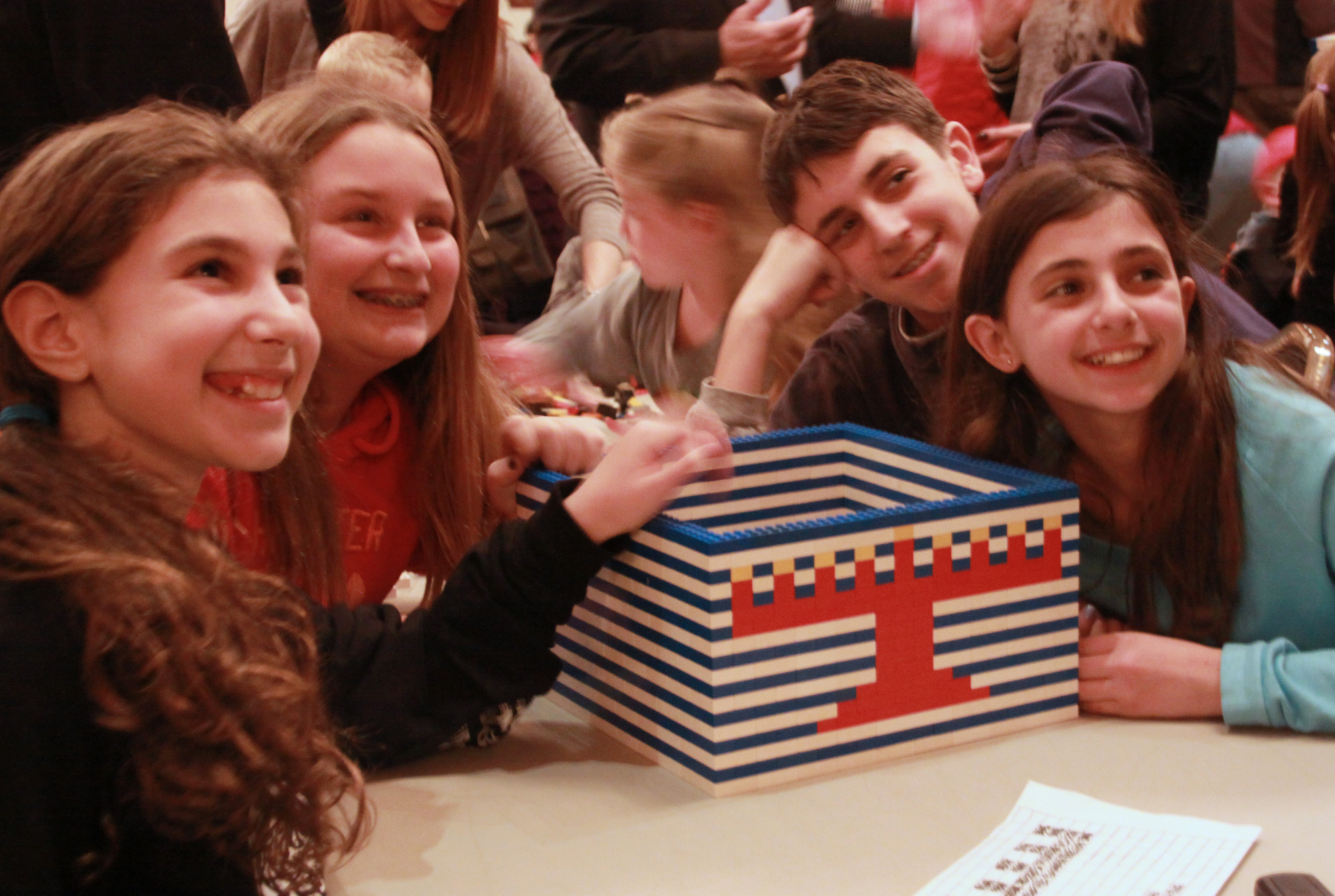 These children lent a hand and shared in the fun as Schwartz once again built his large-scale LEGO menorah at the Merrick Jewish Centre.