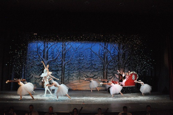 The Snow King (Matthew Prescott) and Queen (Allison Walsh) lead Clara and the Prince in their sleigh to the Land of Sweets, in Leggz' production at South Side High School in Rockville Centre this weekend.