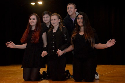 At the Oceanside High School variety show, In-Unison singers are, from left, Gianna Petrazzulo, Thomas Hirdt, Samantha Fontana, Dean Kleboas, and Demi Spirou.