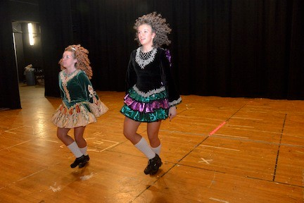 Step dancers Kaitlyn Spinelli and Kaila Adrian.
