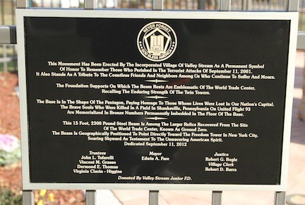 The plaque explains the significance of the Sept. 11 monument.