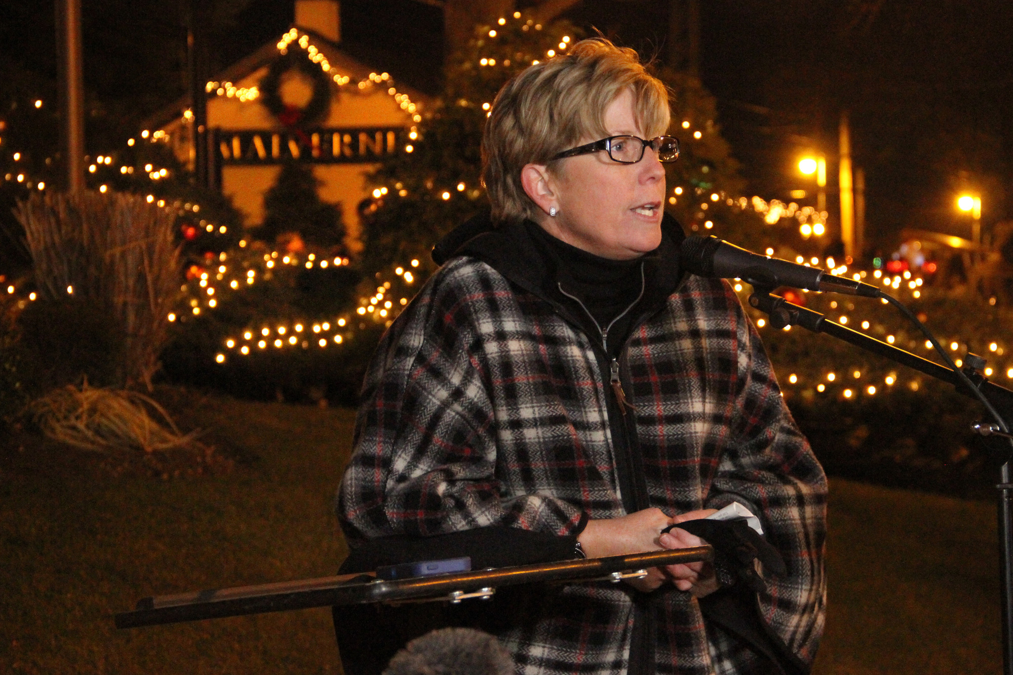 Mayor Patti McDonald welcomed residents and visitors to the Lighting of Malverne on Dec. 7.