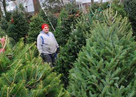 Merrick firefighter Jeff Monsen Jr. was among the volunteers helping out at the tree sale.